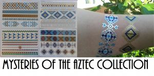 4 x Aztec Collection Jewelry inspired flash temporary tattoo sheets gold silver blue festivals  jewellery body art henna Ibiza